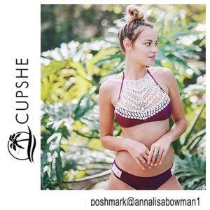 💸NWT Cupshe wine color w/lace accent bikini